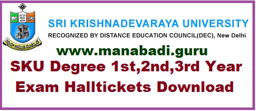 SKU UG Exams Halltickets,Degree Halltickets,Sri Krishnadevarayulu University