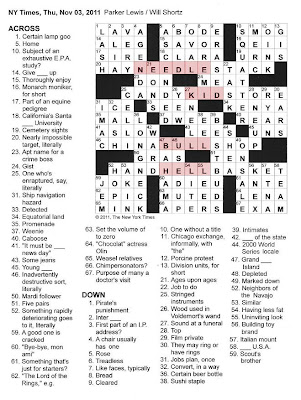 The New York Times Crossword in Gothic: 11.03.11 — Inquire