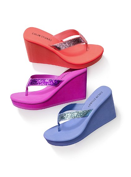 Strawberry Tags Colin Stuart Glitter Wedge Flip-Flop -5486