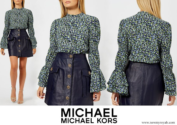 Crown Princess Mary wore MICHAEL Michael Kors Blue Tiny Wild Flower Shirt