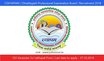 CGVYAPAM ( Chhattisgarh Professional Examination Board ) Recruitment 2018