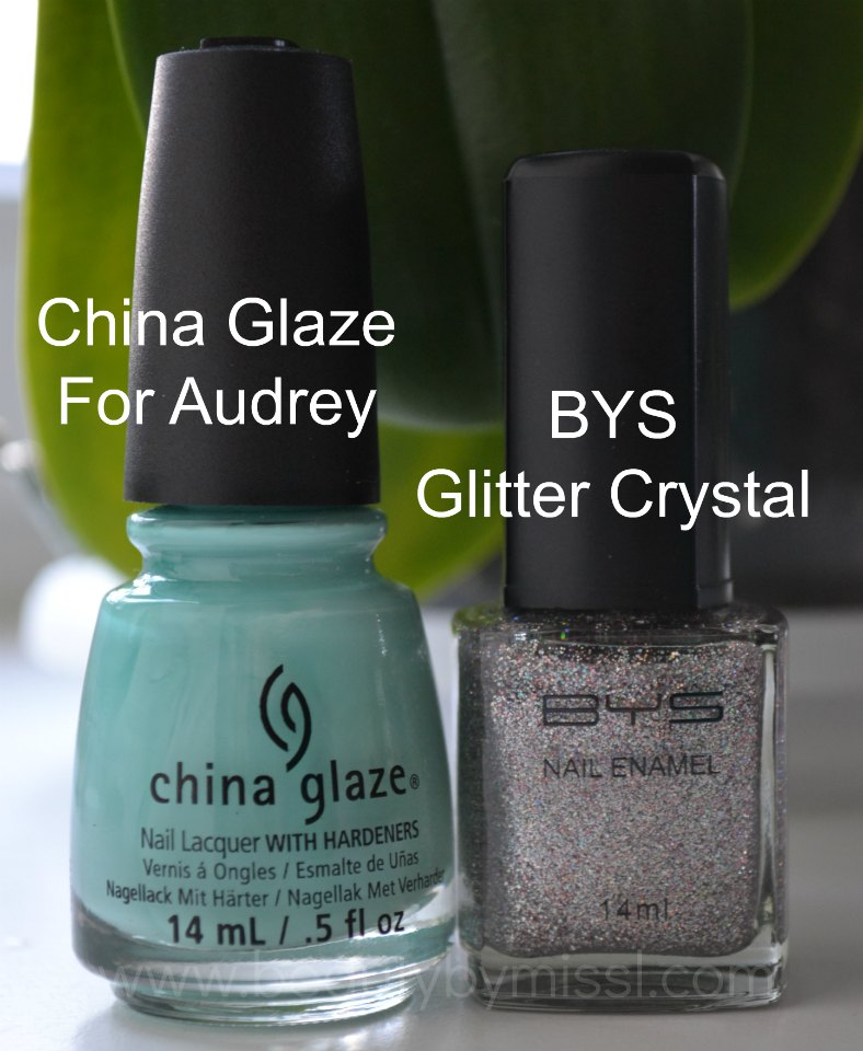 China Glaze For Audrey, BYS Glitter Crystal