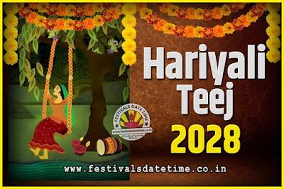 2028 Hariyali Teej Festival Date and Time, 2028 Hariyali Teej Calendar