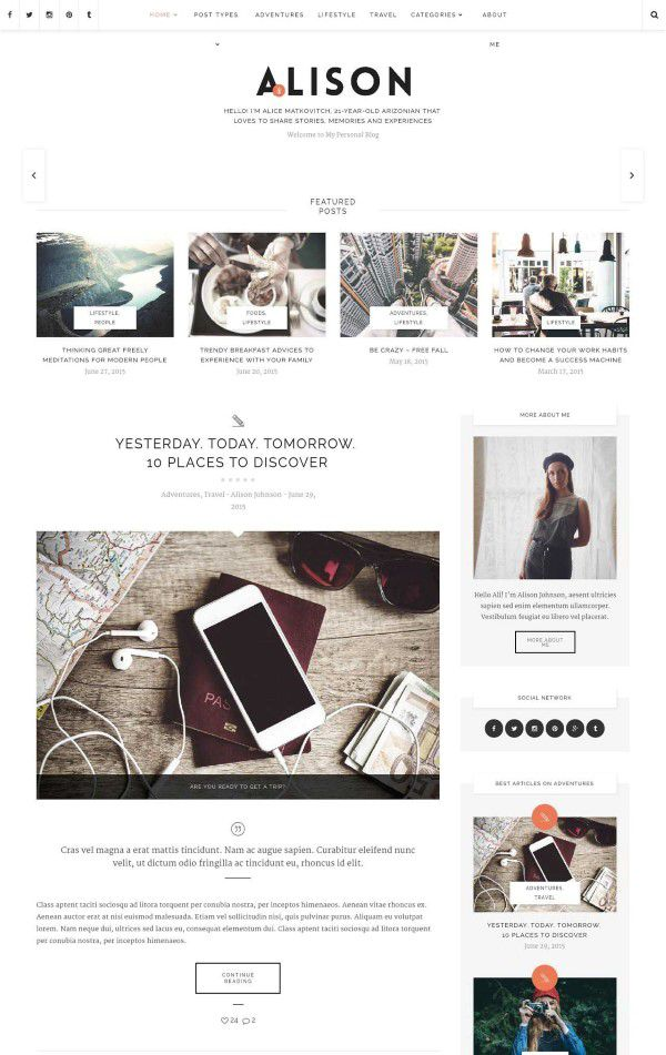 Alison responsive theme for personal blog
