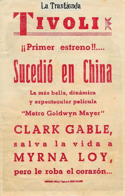 Programa de Cine - Sucedió en China - Clark Gable - Myrna Loy