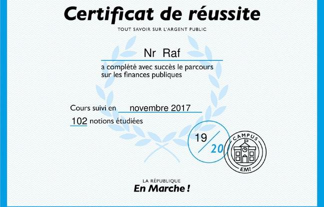 Le certificat décerné à l'issue de la formation en ligne