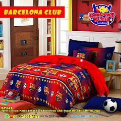 Sprei Custom Katun Lokal Anak Barcelona Club Sepak Bola Biru Merah Ungu