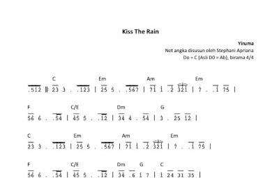 Not Angka Kiss The Rain Pianika Piano
