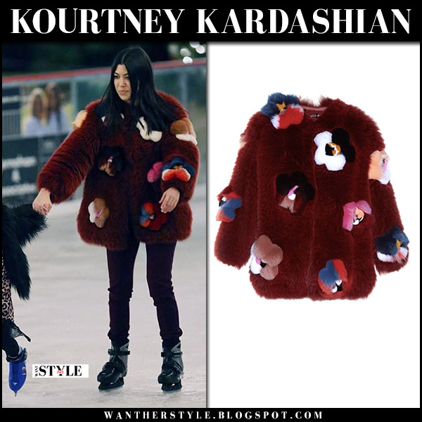 Kourtney Kardashian in burgundy red flower applique fox fur fendi coat ice skating street fashion december 23