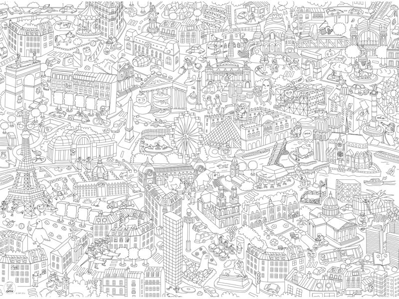 Dessins et coloriages 5 coloriages de paris en ligne imprimer - Grand dessin a colorier ...