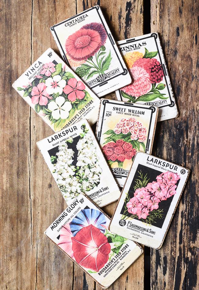 DIY vintage floral seed packets