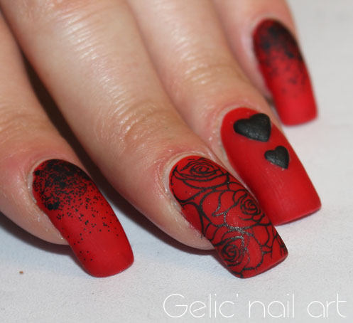 Gelic Nail Art Black And Red Rose And Heart Nail Art