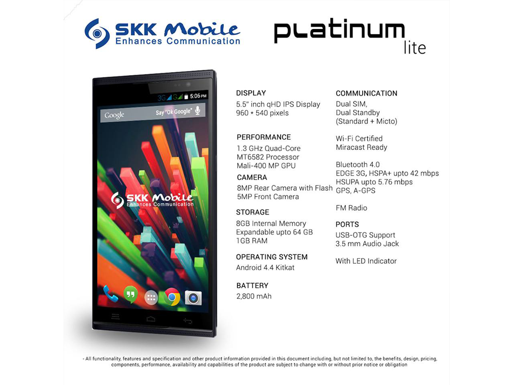 SKK Mobile Introduces Platinum Lite: a 5.5-inch Quad-core Phablet Priced at Php 5,999