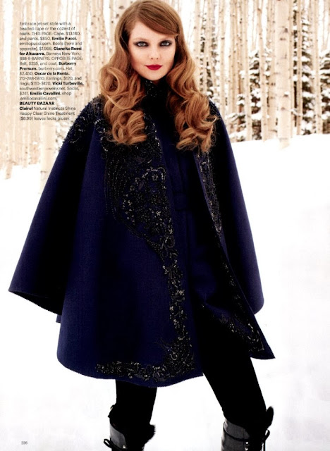 midnight blue cape on Eniko Mihalik shot by Terry Richardson