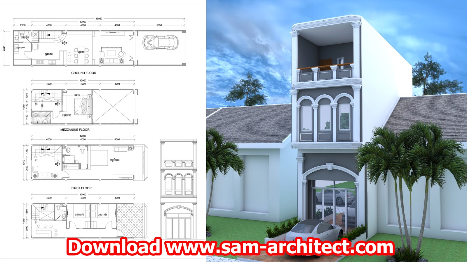 Narrow House Design Bedrooms Sketchup And Autocad Plan Size   Sketchup Home  Design