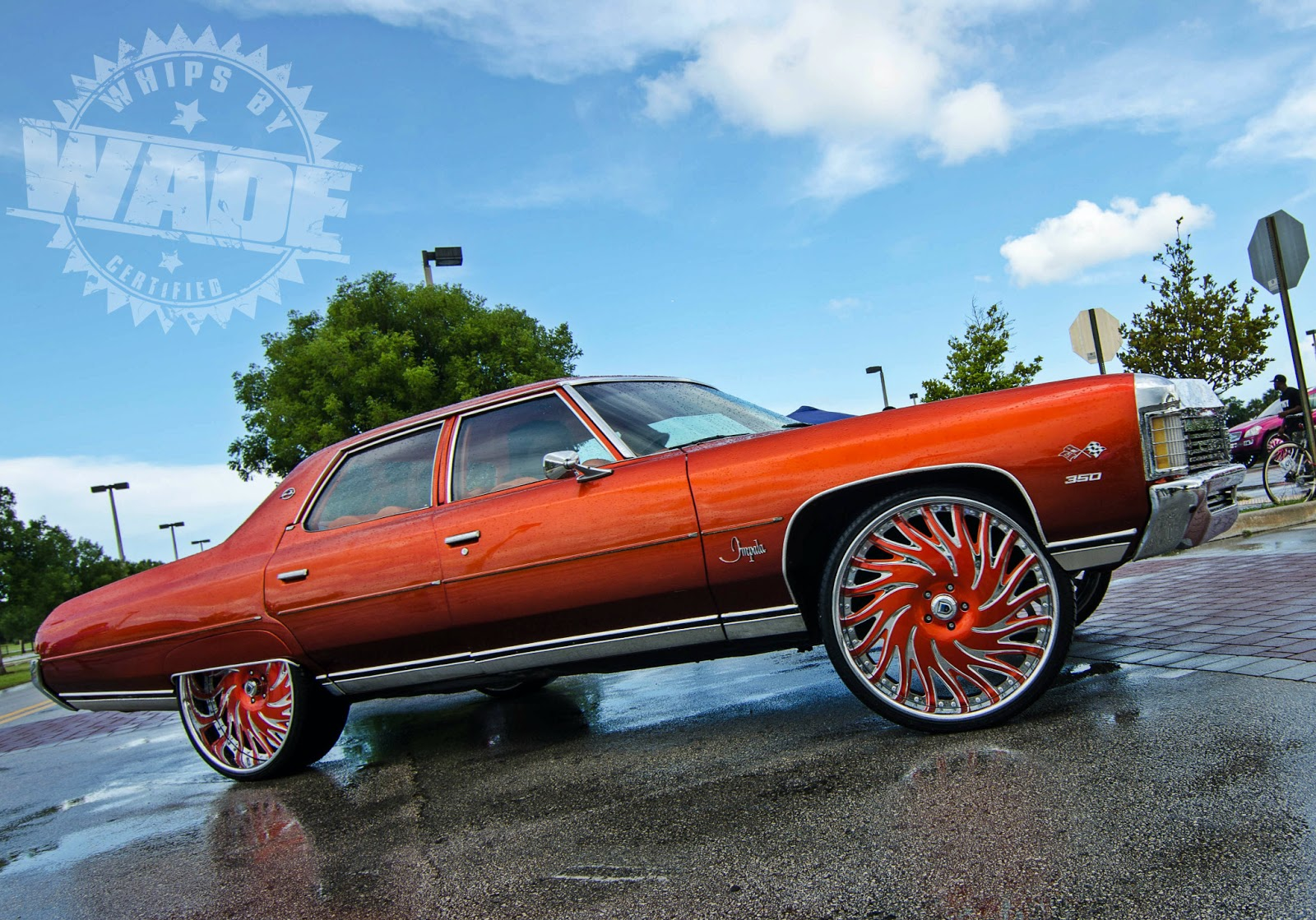 Whips By Wade: Candy Orange 1971 Chevrolet Impala on 26