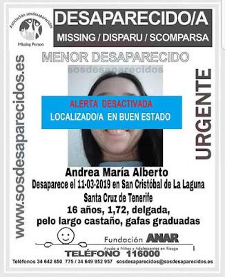La menor que estaba como desaparecida en San Cristóbal de La Laguna, tenerife, ha sido localizada en buen estado