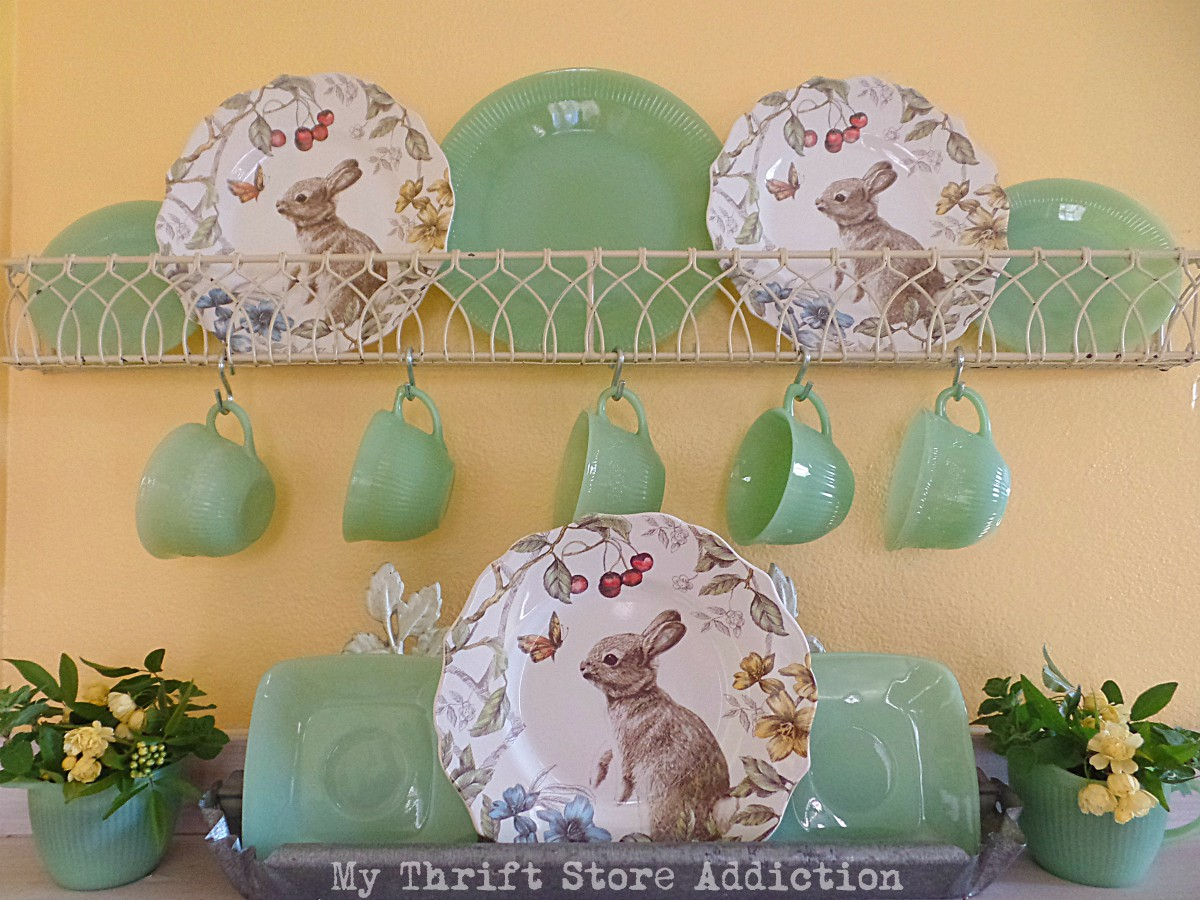 jadeite springtime kitchen vignette