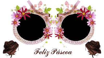 Moldura Páscoa 2016-2 fotos-Flores e 2 Rosas de chocolate.-com Feliz Páscoa PNG