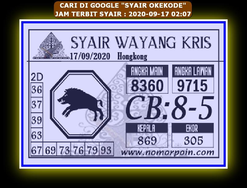 Kode syair Hongkong Kamis 17 September 2020 200