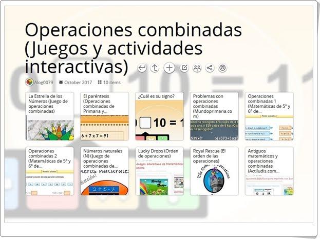 """""""10 Juegos y actividades interactivas para el ejercicio de las OPERACIONES COMBINADAS en 5º de Primaria"""""""