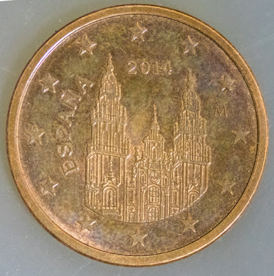 Obverse of 2014 Spanish Euro Cent, Espana, year, cathedral