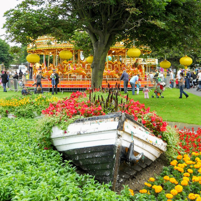 One day Dublin itinerary: Boat filled with flowers at People's Park in Dun Laoghaire