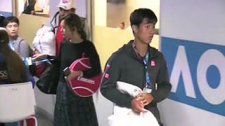 Kei Nishikori And His Girlfriend Honami Tsuboi At The Australian Open Post Match