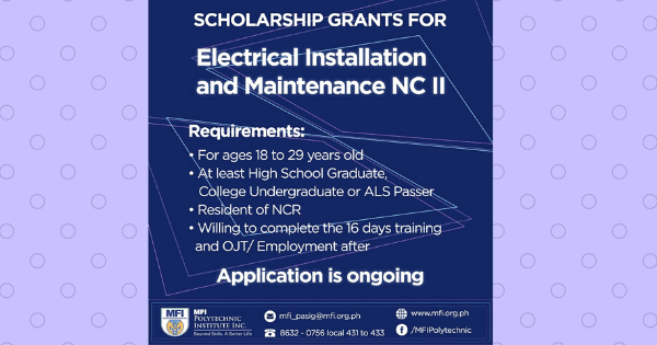 Electrical Installation & Maintenance NC II | MFI SCHOLARSHIP