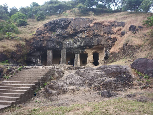 Outside of one of the Elephanta Caves