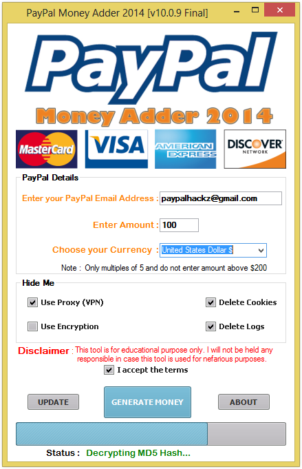 Paypal money adder hack software free download no survey
