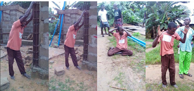 Effiong gets stuck while trying to steal from a building site - Pictures