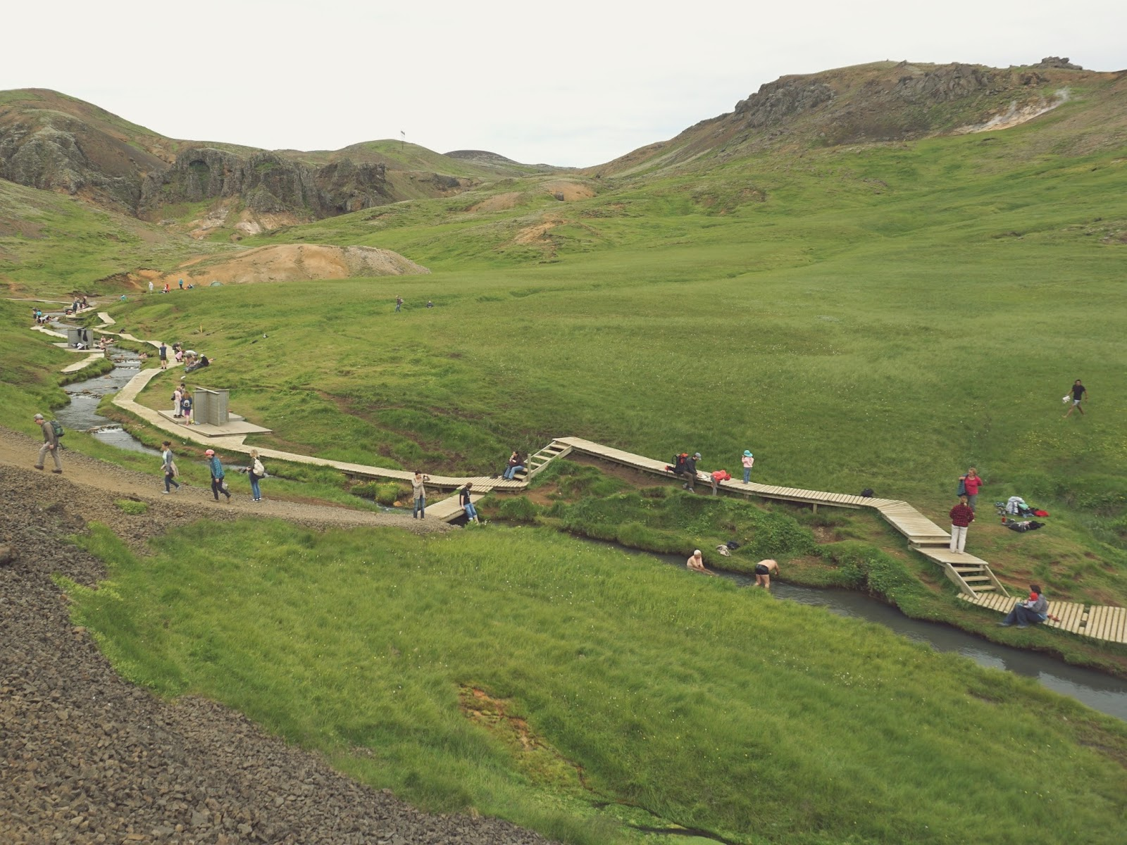 gorąca rzeka, rzeka, Reykjadalur, Hveragerdi, Islandia, południowa Islandia, góry, szlak pieszy, szlak górski