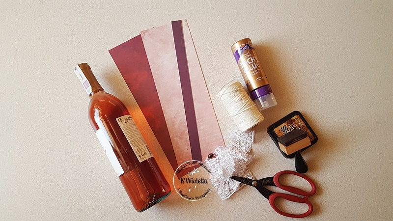 Fantastyczny Kurs - ozdabiamy butelkę wina - dodatek do prezentu ślubnego. PB97