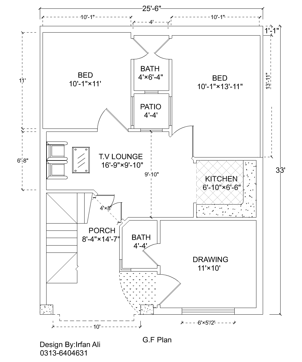 3 Marla House Plan 25 39 6 33 39