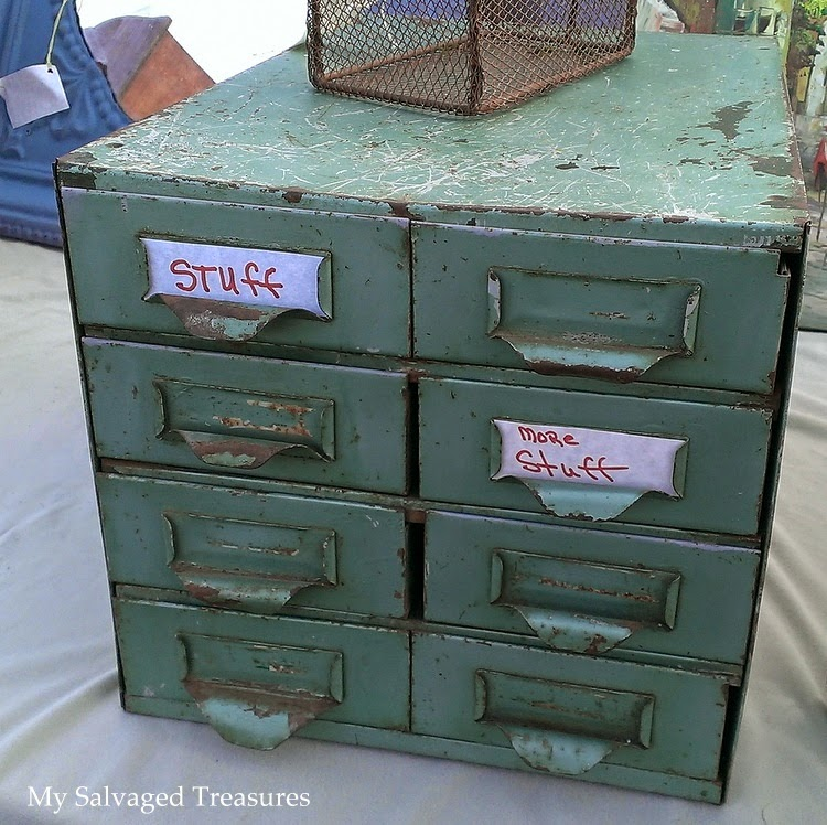 rusty vintage metal storage drawers