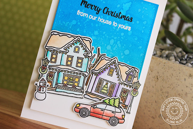 Sunny Studio Stamps: Christmas Home Winter Scene Christmas Card by Eloise Blue