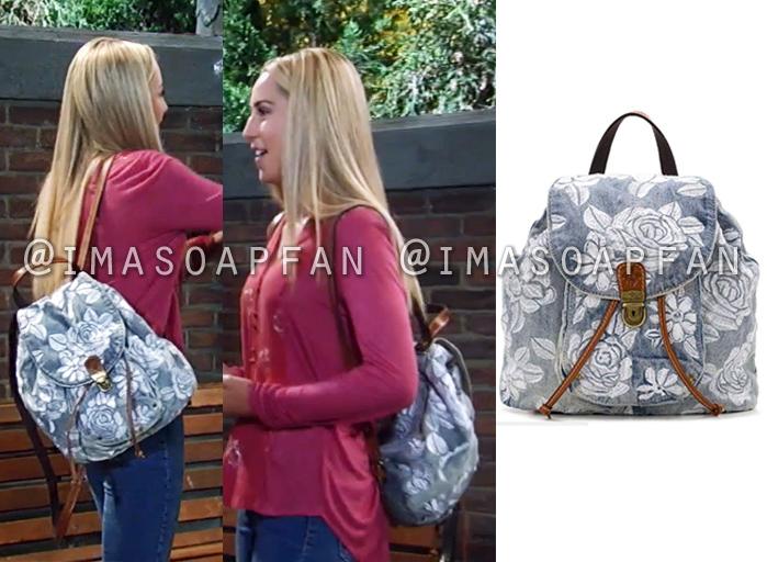 Josslyn Jacks, Eden McCoy, Floral Embroidered Denim Backpack, General Hospital, GH