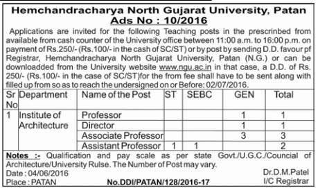 HNGU, Patan Various Post Recruitment 2016