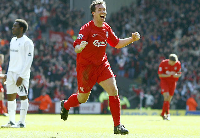 An elated Robbie Fowler after scoring a goal for Liverpool