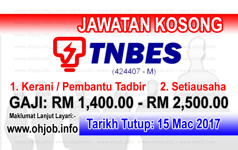 Jawatan Kerja Kosong TNBES - Tenaga Nasional Berhad Energy Services logo www.ohjob.info mac 2017