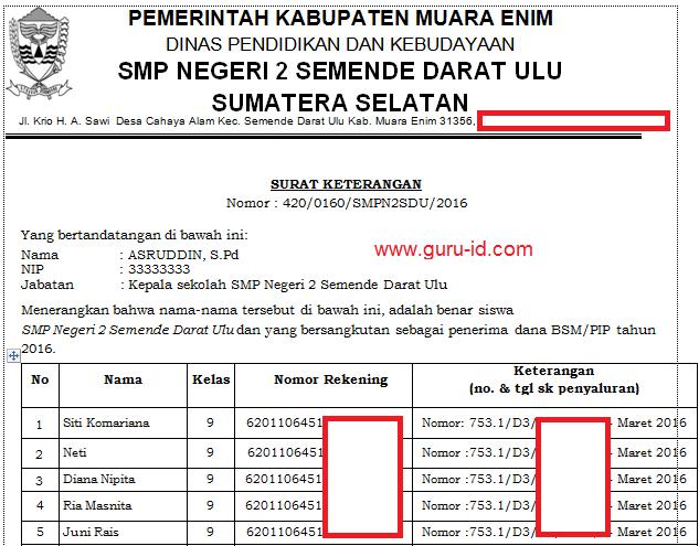 gambar surat pencairan keterangan penerima BSM