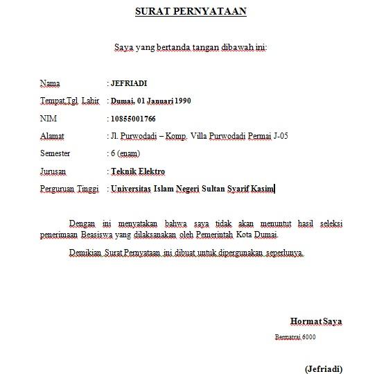 Contoh Surat Pernyataan ~ Jefriadi Azwar's