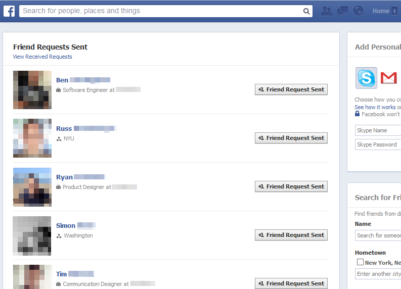 how to delete all friend requests on facebook