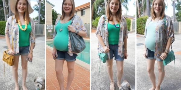 floral kimono #30wears 4 ways with green tops and denim shorts | Awayfromblue