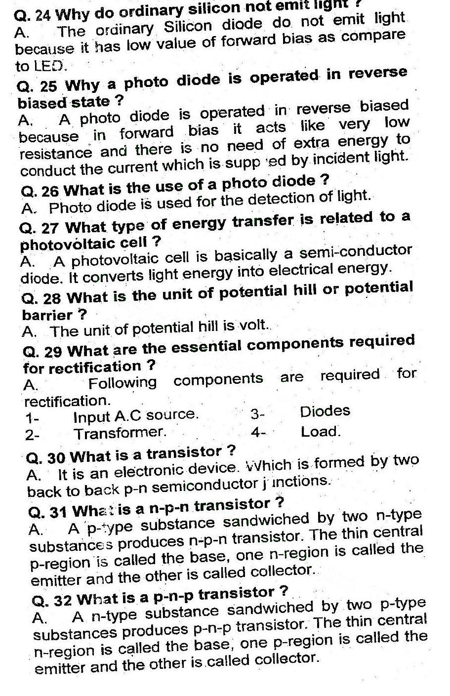 Chapter 18 Electronics Short Questions pdf