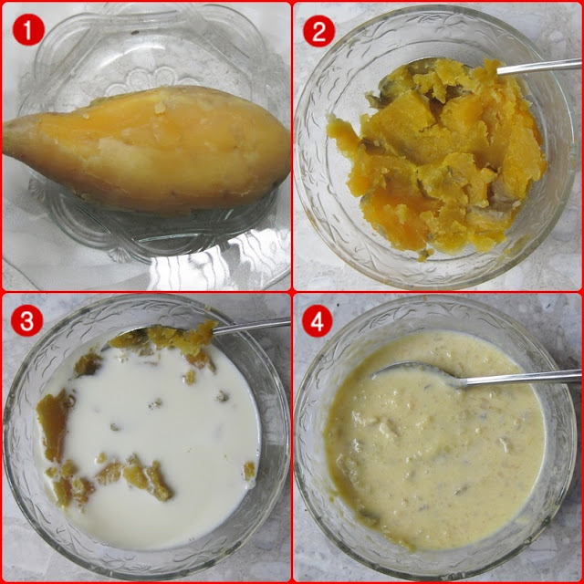 khoai lang trộn sữa
