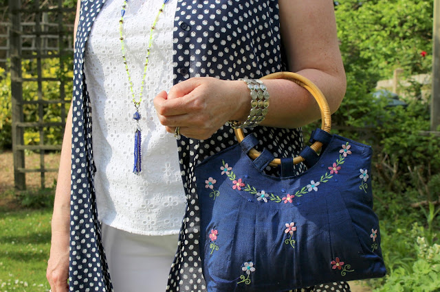 Dorothy Perkins Petite Maxi Shirt, Embroidery Top & Bamboo Handle Silk Embroidered Bag,Yosa Necklace   Petite Silver Vixen