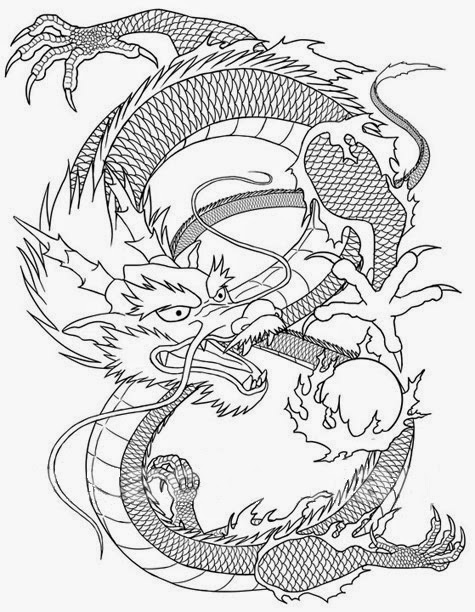 Chinese dragon with fireball tattoo stencil