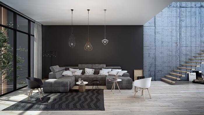 siyah ve gri endüstriyel dizayn oturma odası